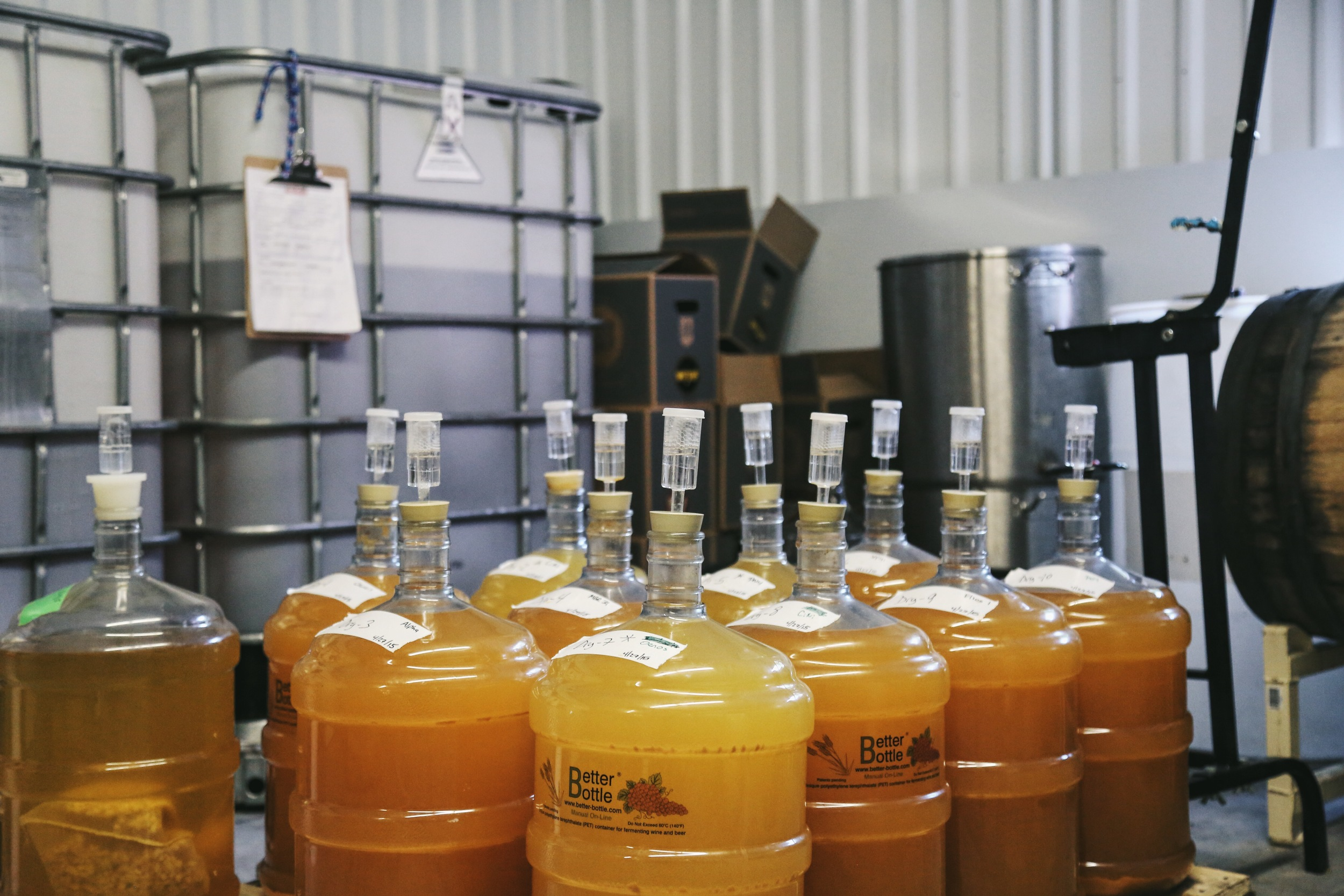 Multiple fermentation experiments at Citizen Cider in Burlington, Vermont