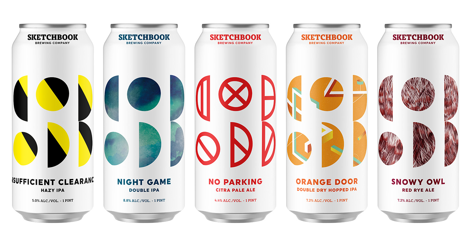 The core five cans in the portfolio feature original artwork by our designer and illustrator Cooper Foszcz