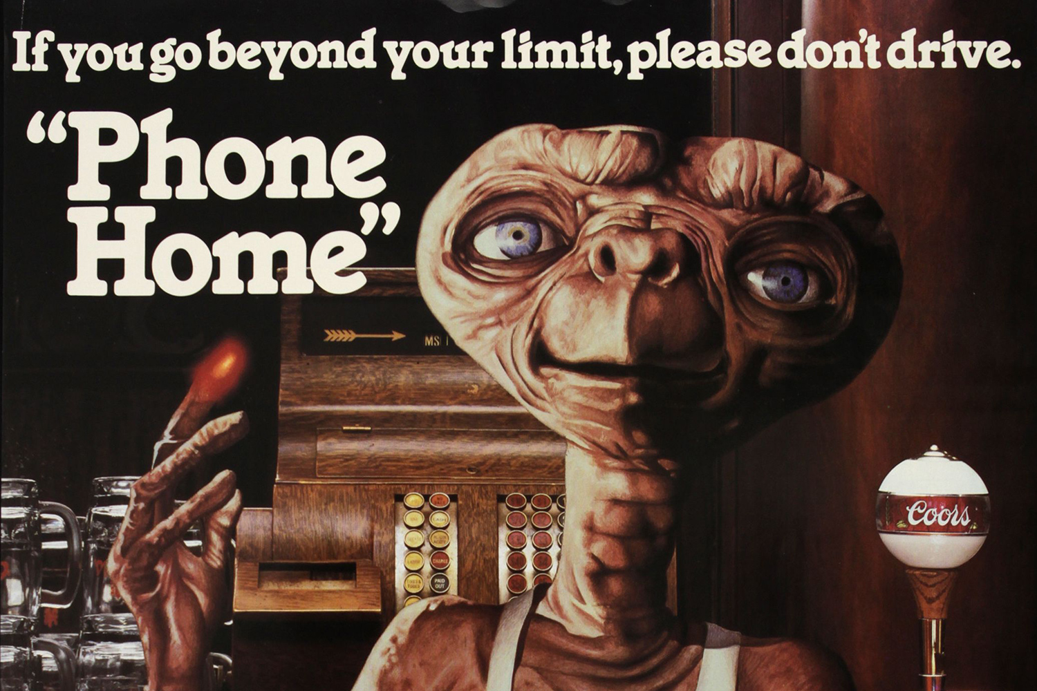 E.T. the Extra-Terrestrial /Coors cross-promotional public service announcement poster
