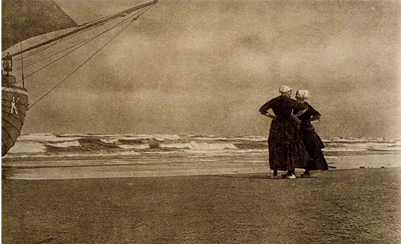 """Alfred Stieglitz, Gossip—Katwyk, 1894 (published in Camera Work 1905)  half-tone reproduction, approximately 5 x 8."""""""