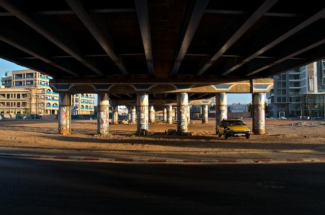 Under a bridge on a Sunday morning