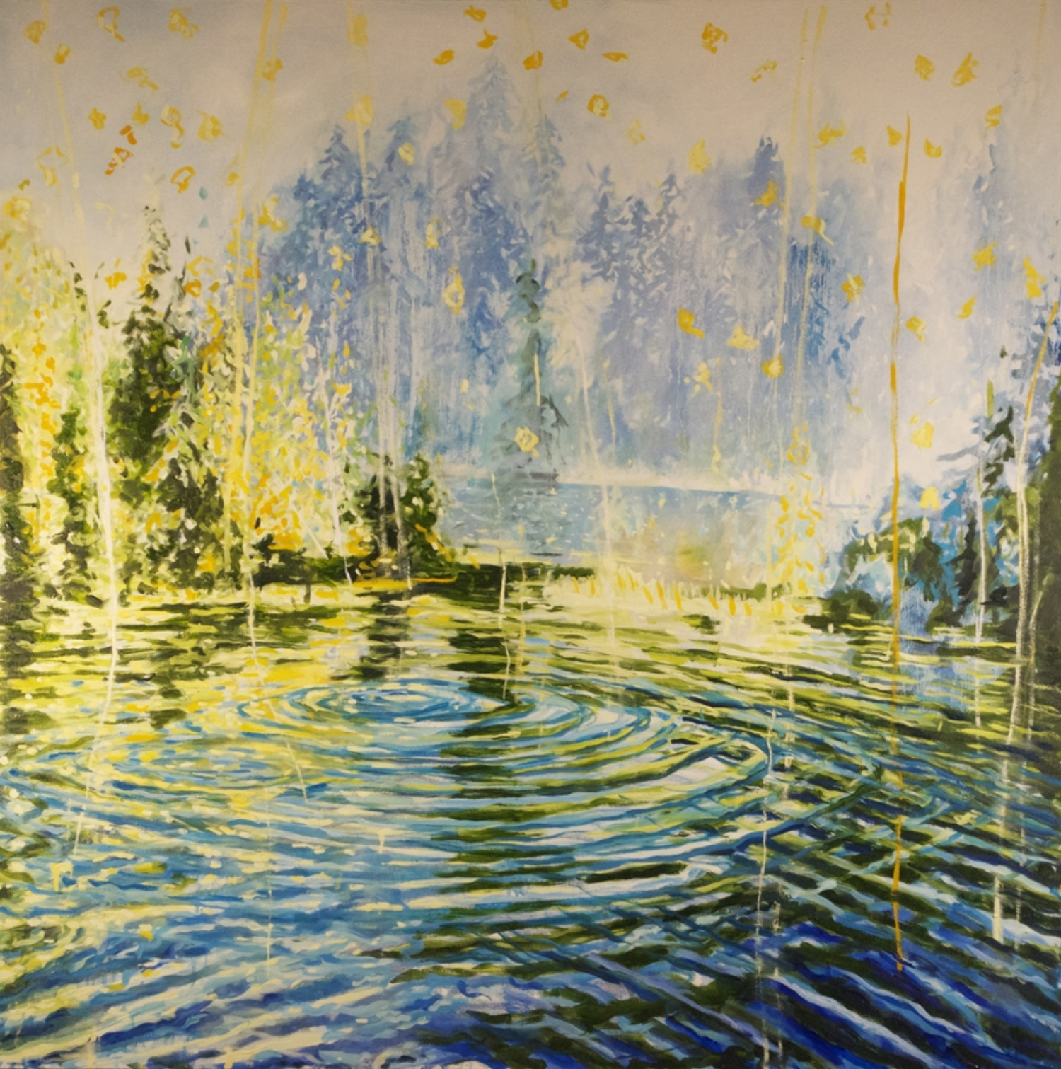 """Yellow light on Blue Water, oil on canvas, 48 x 48"""" 20015"""