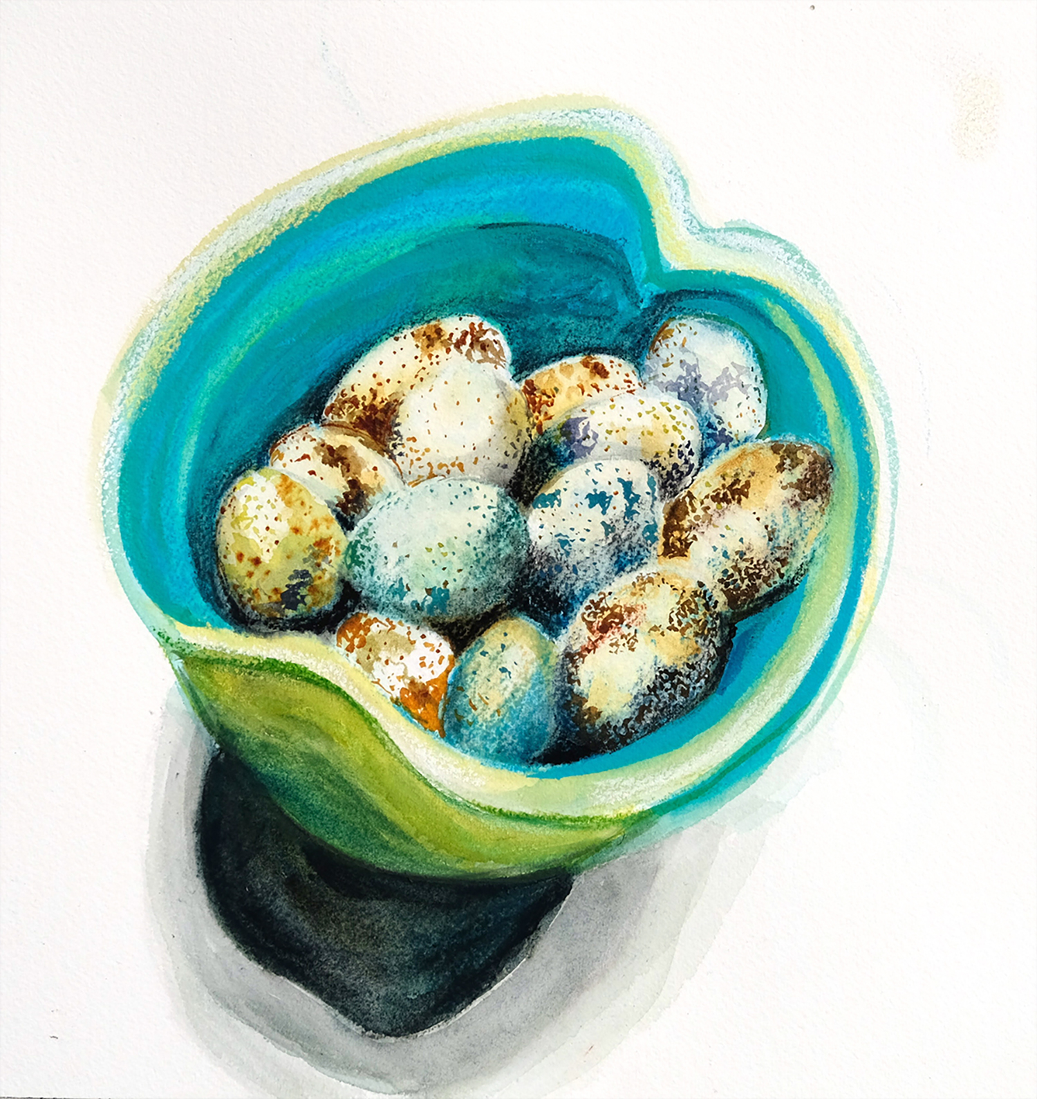 Quail eggs in turquoise bowl, watercolour and pastel on watercolour paper, Fall 2016.
