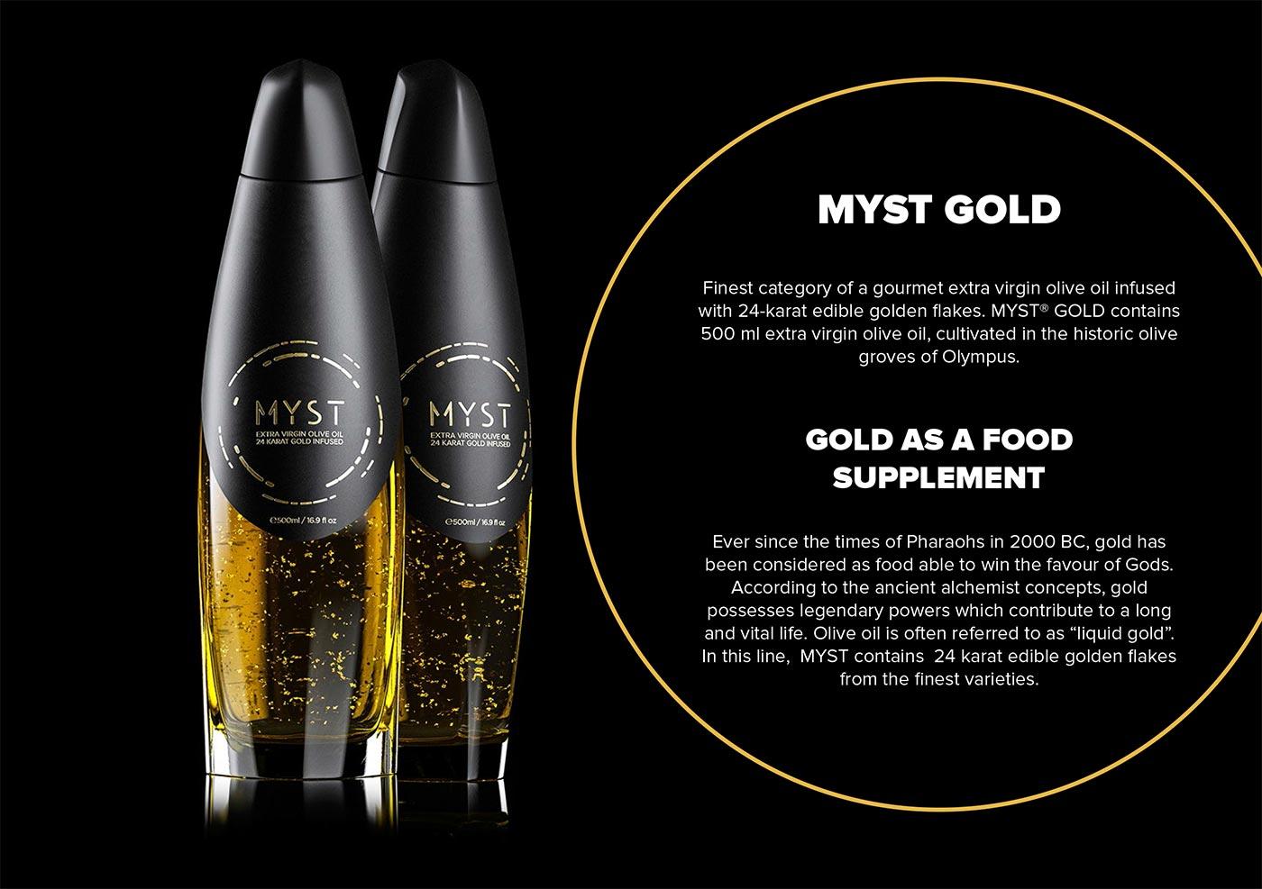 Myst, ultra premium olive oil, bottle packaging