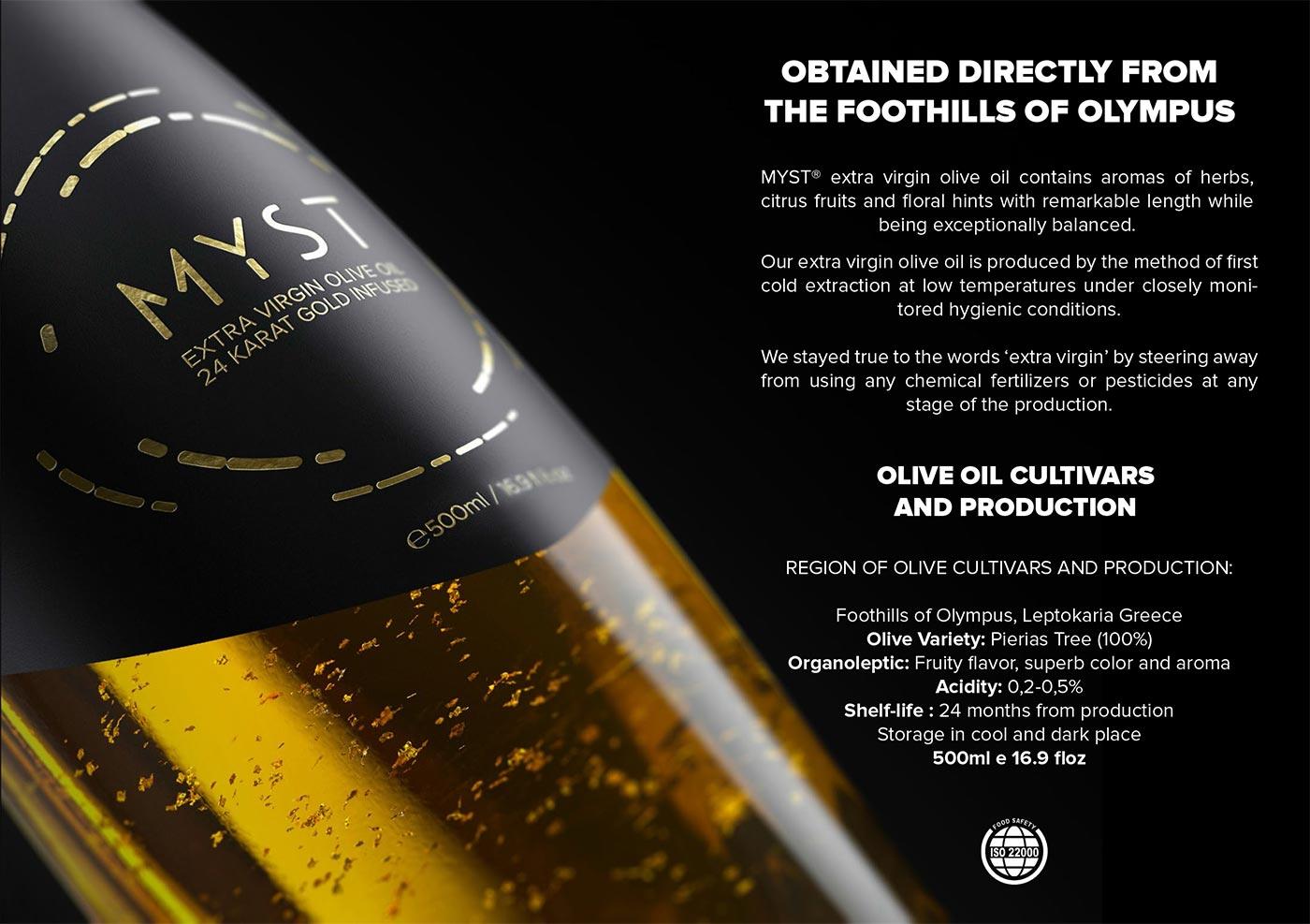 Myst, ultra premium olive oil, bottle packaging 3