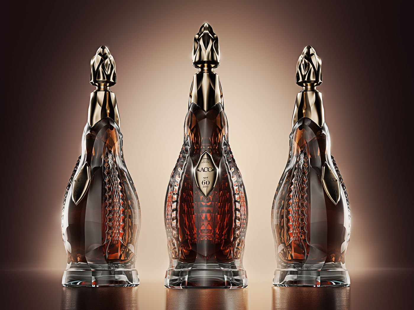 Luxury whisky bottle design for  Connoisseur Group / ACC  is a modified  Supreme Cognac Bouteille design . The bottle will enter production in the glassworks Rogaska in Slovenia in 2018. Volume of the bottle will be 1 liter and whisky will be in the range of 60 - 70 years old.   Bottle will be available for the private clients of Connoisseur Group / ACC.