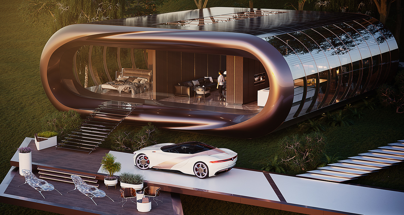 Module house futuristic luxury architecture 1