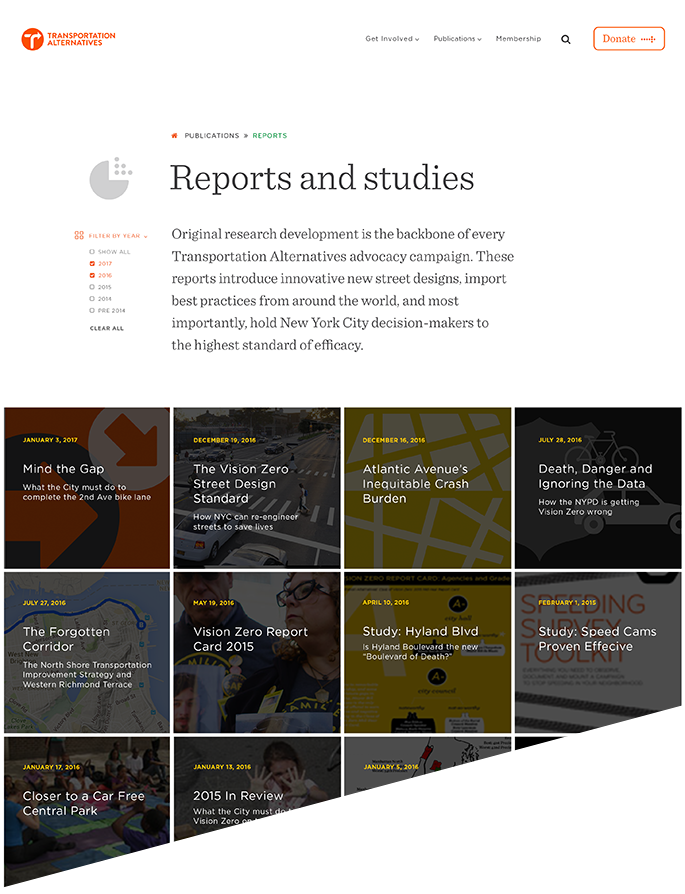 Reports landing page