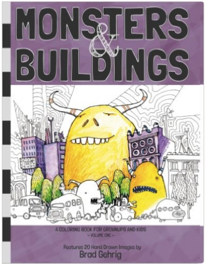 From the unique mind of architect and artist Brad Gehrig comes this book for all ages who love to color and delight in the weird.   $10 Amazon