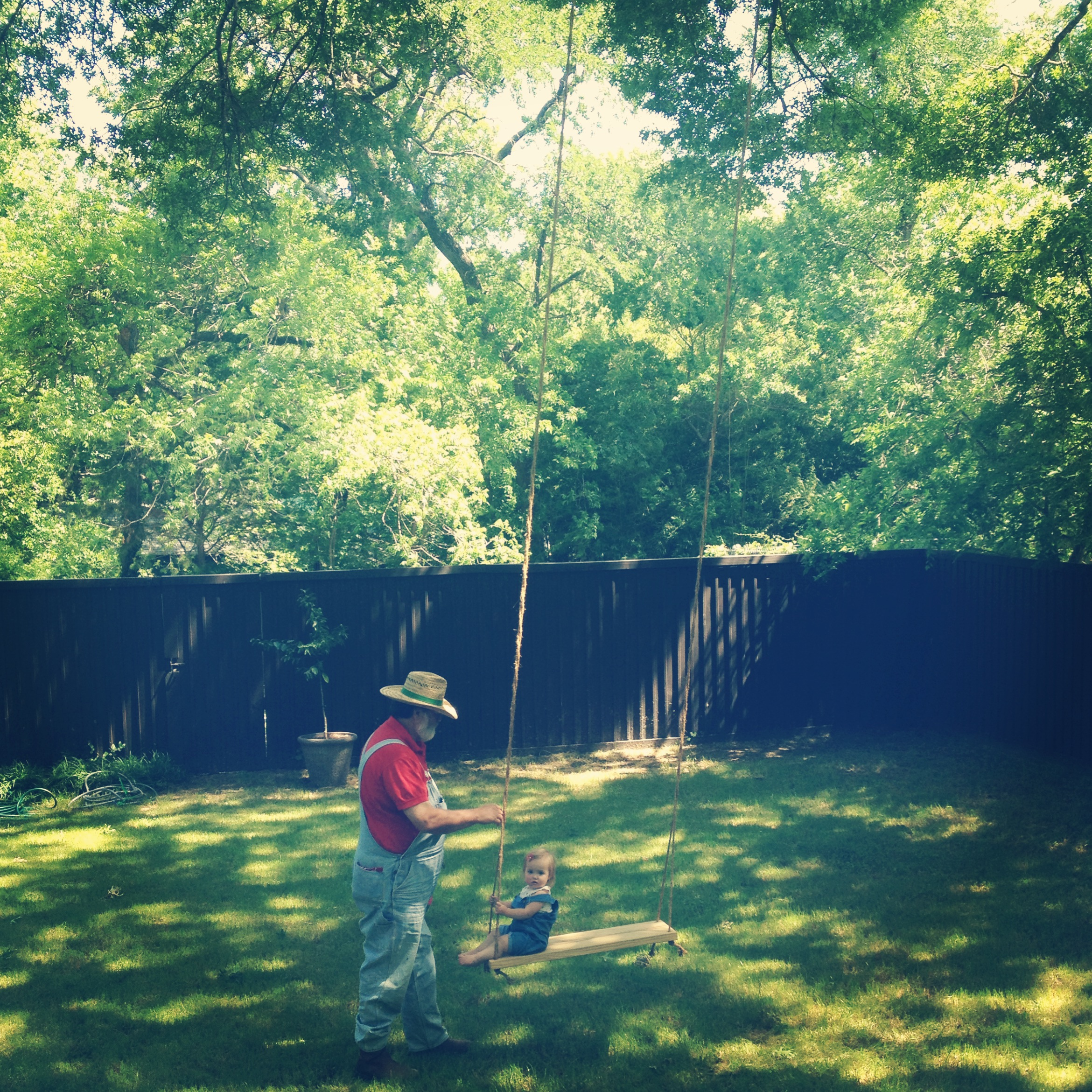 Charmed her Pappy into swing time when he came to deliver farm eggs to our neighbors.