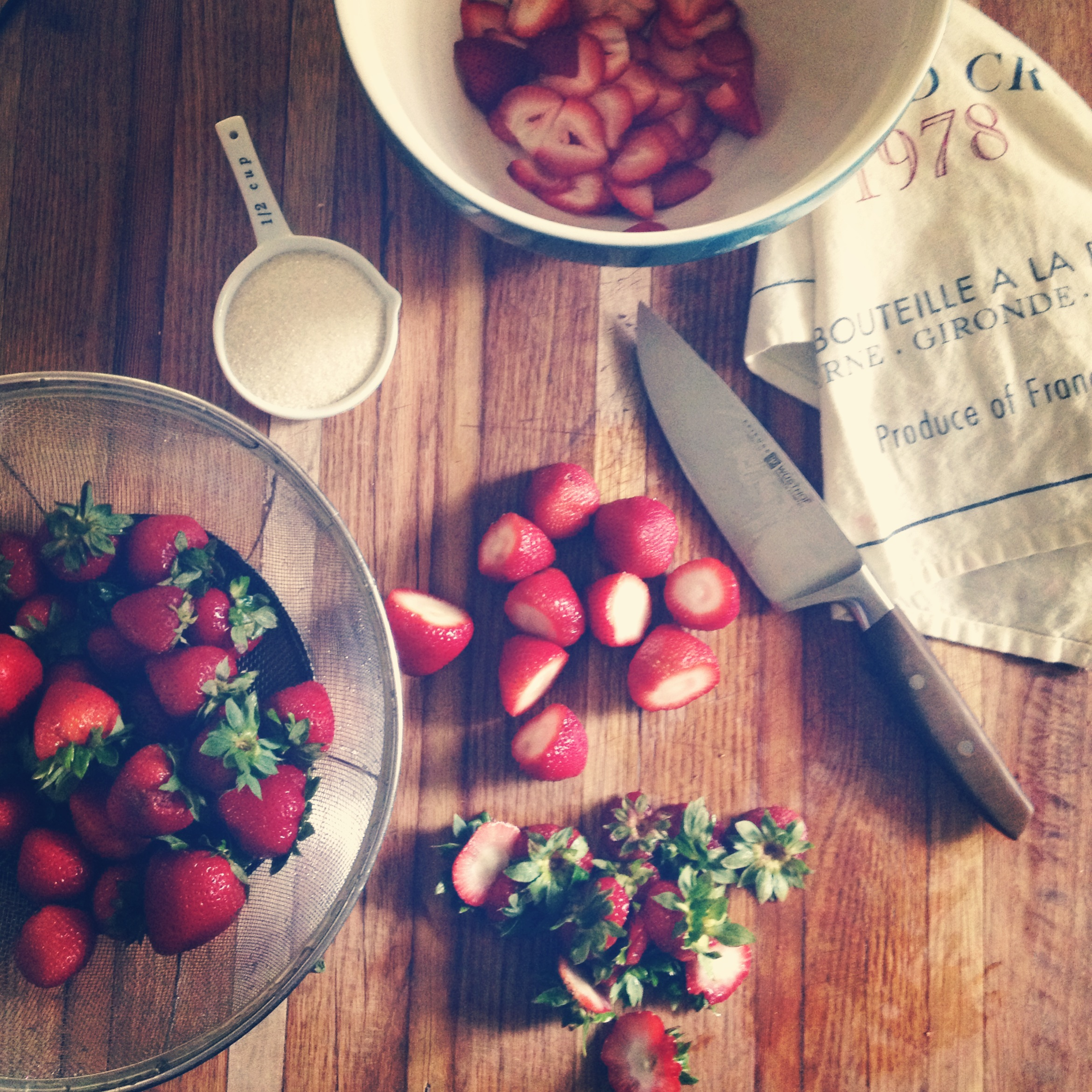Summer strawberries are a theme at the cottage right now.