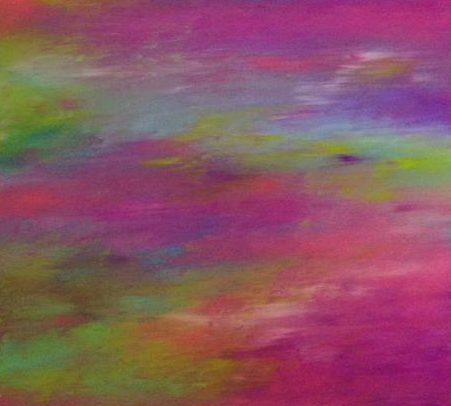 """Simplicity      36"""" x 30"""" Oil on Canvas     This minimalist approach breathes an atmosphere of sweet simplicity. The subdued colours remind us of the quiet tones of earth and nature - breaking down complexity into fractals of happy, blissful components. It reminds us to go deep to find our inner bliss and listen intently to the sound of the hearts land."""