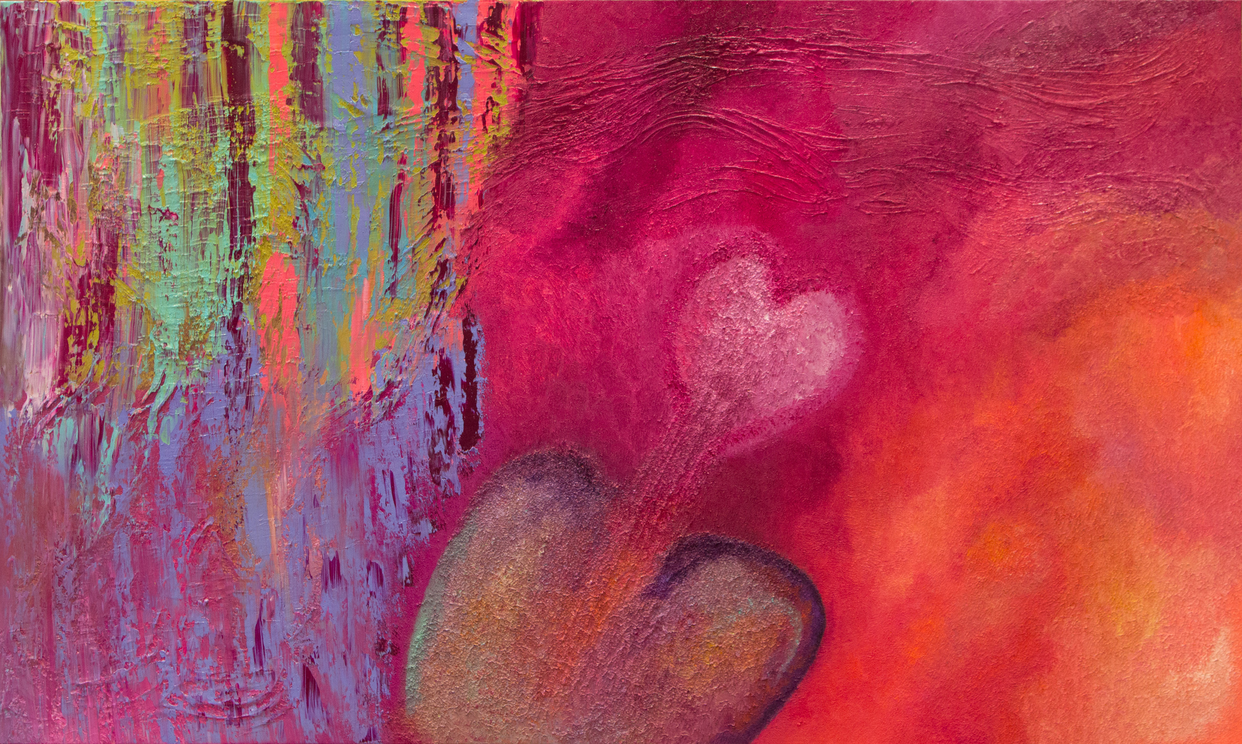 """Digging for Love    36"""" x 60"""" Oil on Canvas with Mixed Media     This romantic piece reflects the beating heart and its journey through magical portals of love inspired adventures.Digging for love symbolizes the determination of seeking a self nurturing and fulfilling path in connecting and listening to the wisdom of the inner heart."""