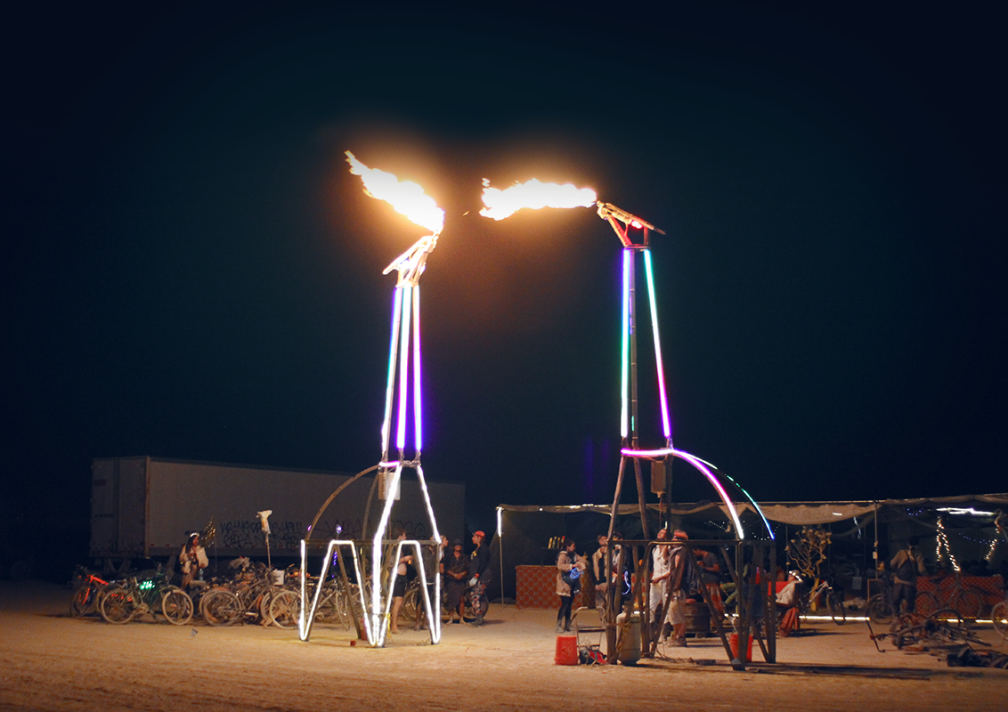 Fire-Breathing Giraffes: the coolest thing I ever built - That time that I designed and built two 20-foot giraffes that spewed fire from their mouths.