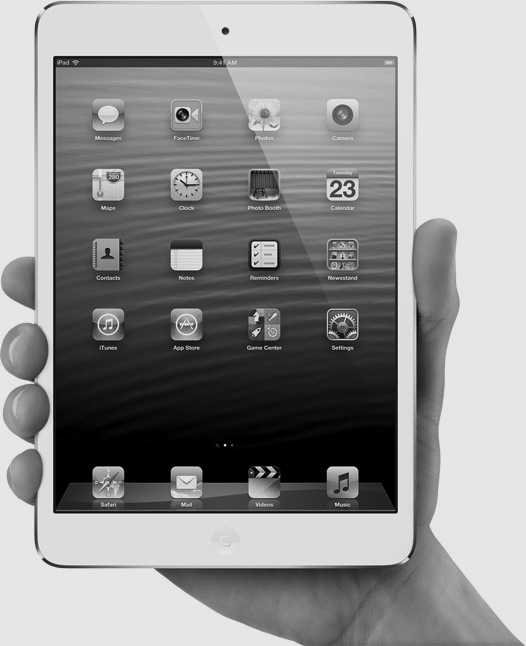 The iPad mini. Fits in the hand of a normal type human.