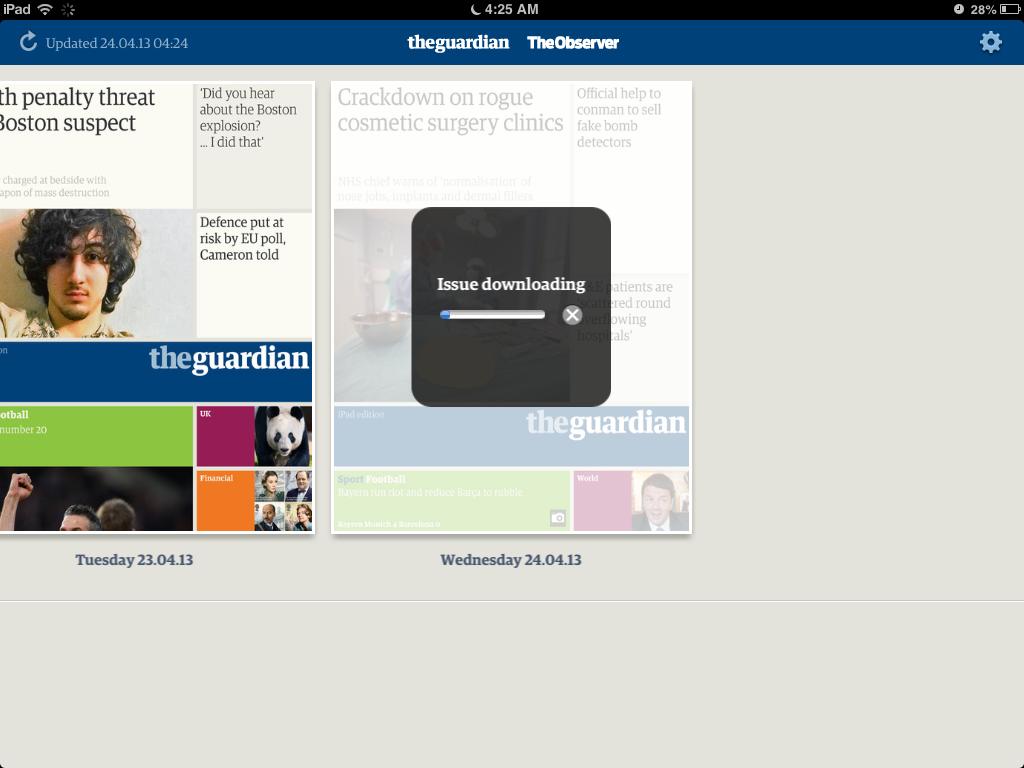 The Guardian se outomatiese aflaaier, besig om die dag se koerant in te bring.