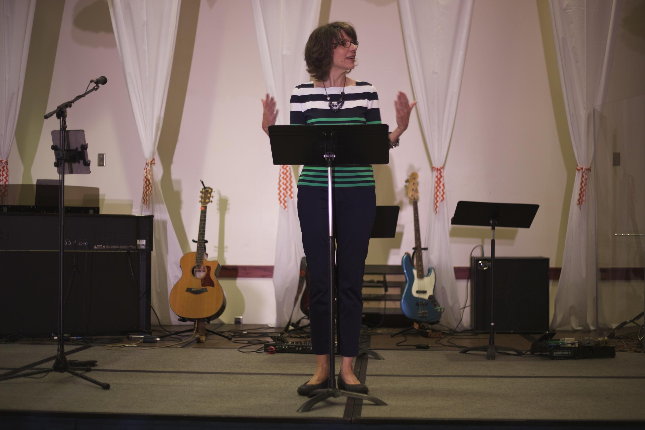 Lisa Hughes teaching at Grace Bible Church Women's Conference, Hutchinson, KS