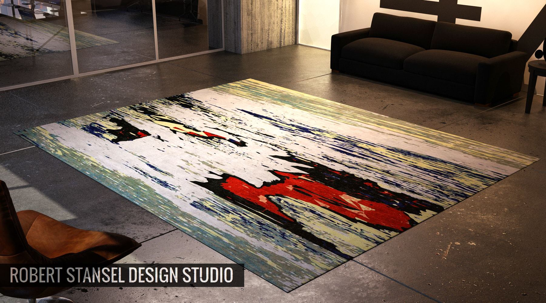 12x15' all wool rug proposal for Oklahoma commercial space. Rendering by Miguel Angel Andrade Perez of MAAP3D.