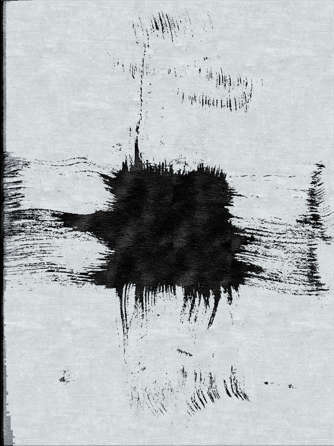 Abstract in X in Black and silver grey mohair