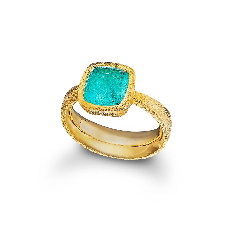 Paraiba Tourmaline Sugarloaf Ring
