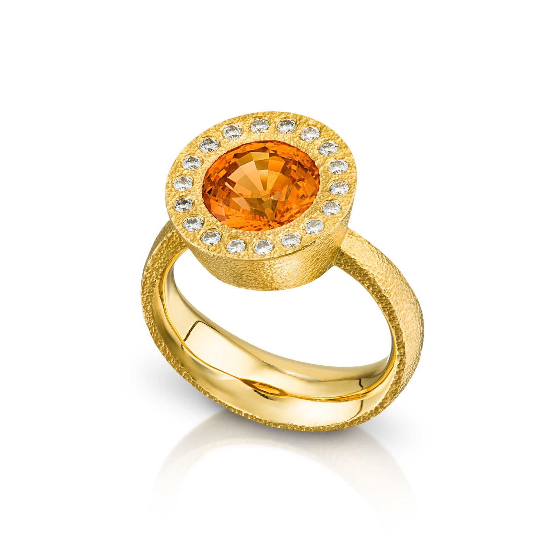 Mandarin Garnet Halo Ring