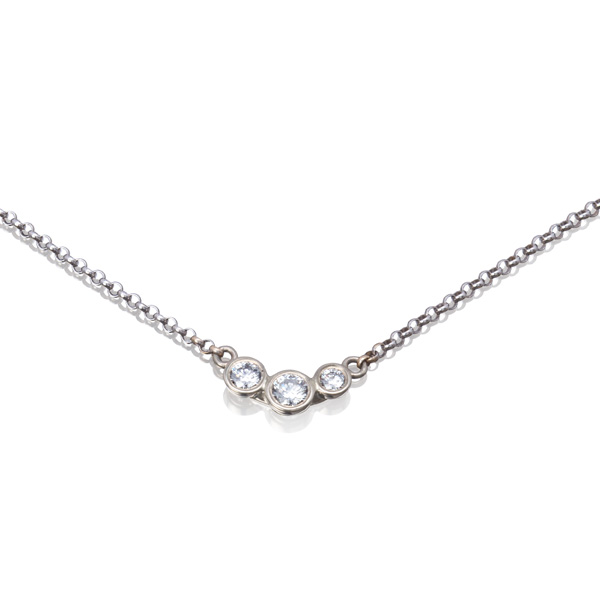 14K White Gold Garland Necklace with Diamonds