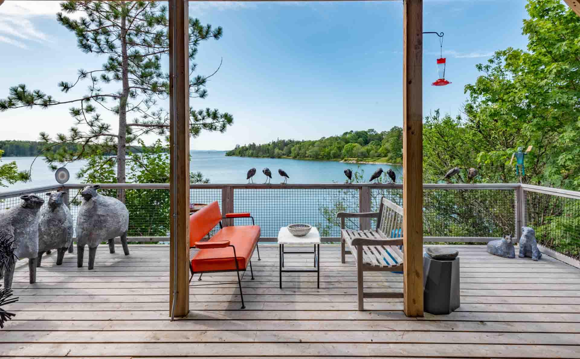 The deck overlooking Northwest Harbor