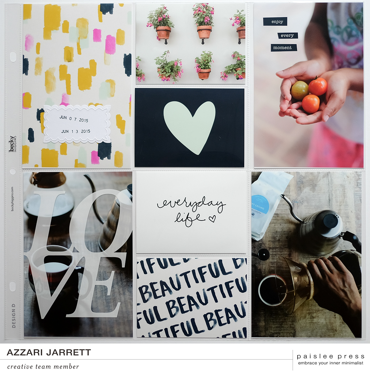Paislee Press Joie de Vivre Project Life Layout | Azzari Jarrett