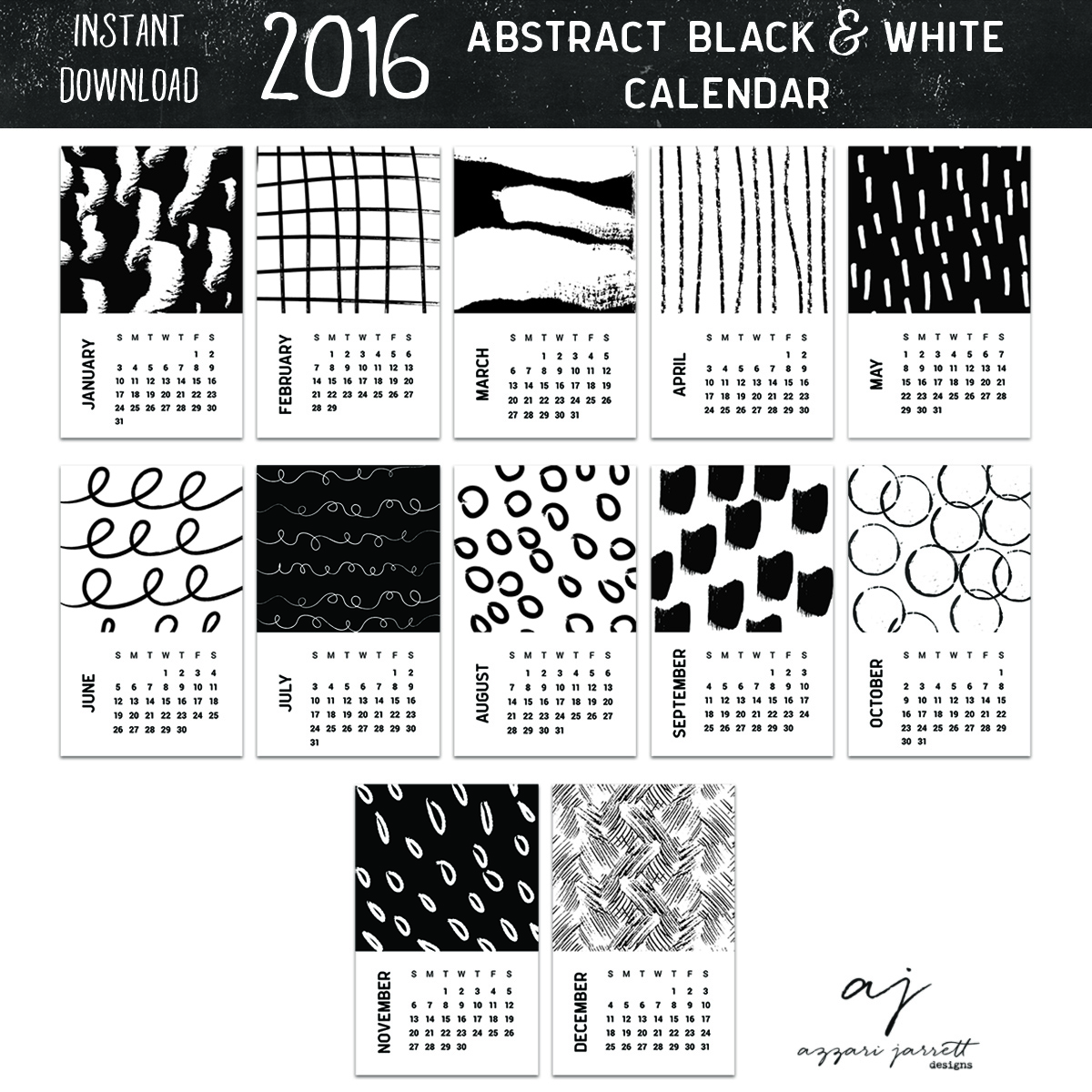 2016 Abstract Black and White Printable Calendar | Azzari Jarrett