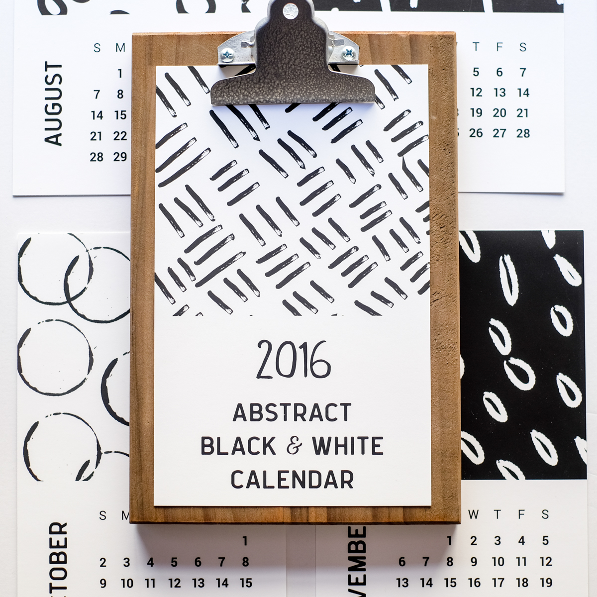 2016 Black and White Abstract Printable Calendar - Azzari Jarrett