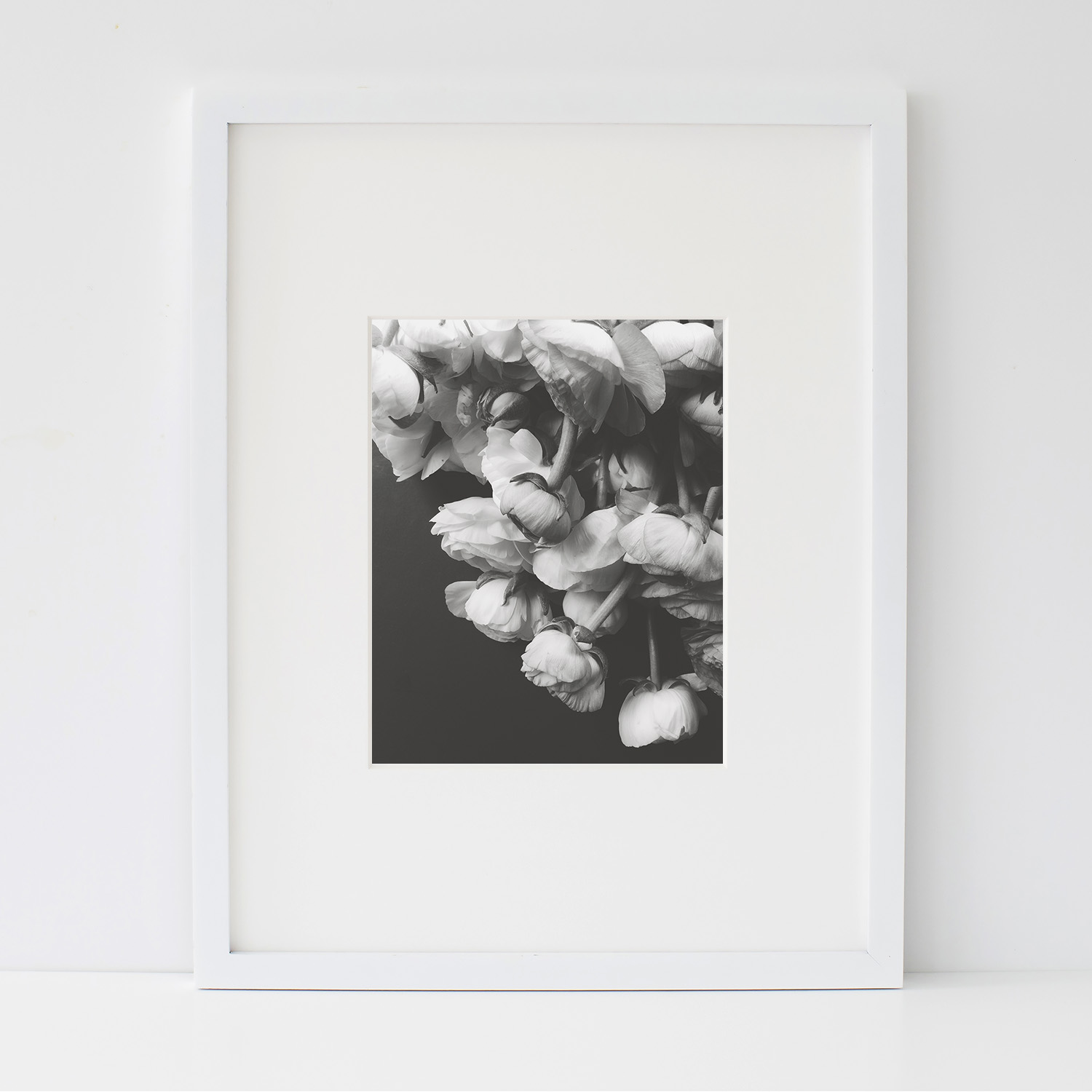 Black and White Ranunculus Art Print - Digital Download | Azzari Jarrett