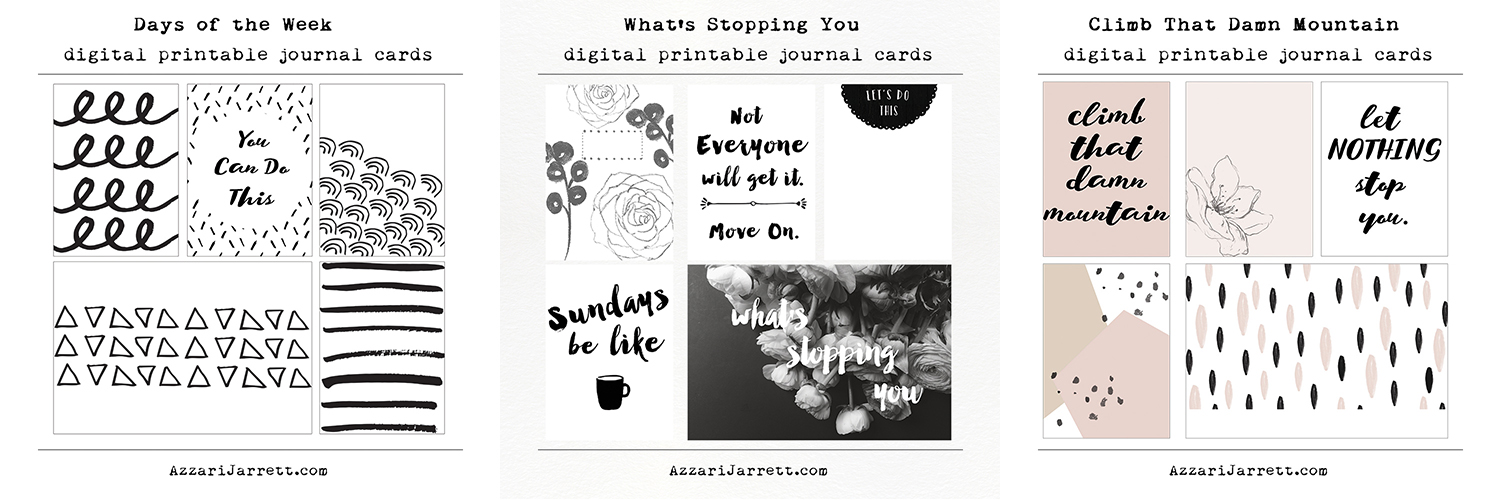 Digital printable journal cards | Azzari Jarrett