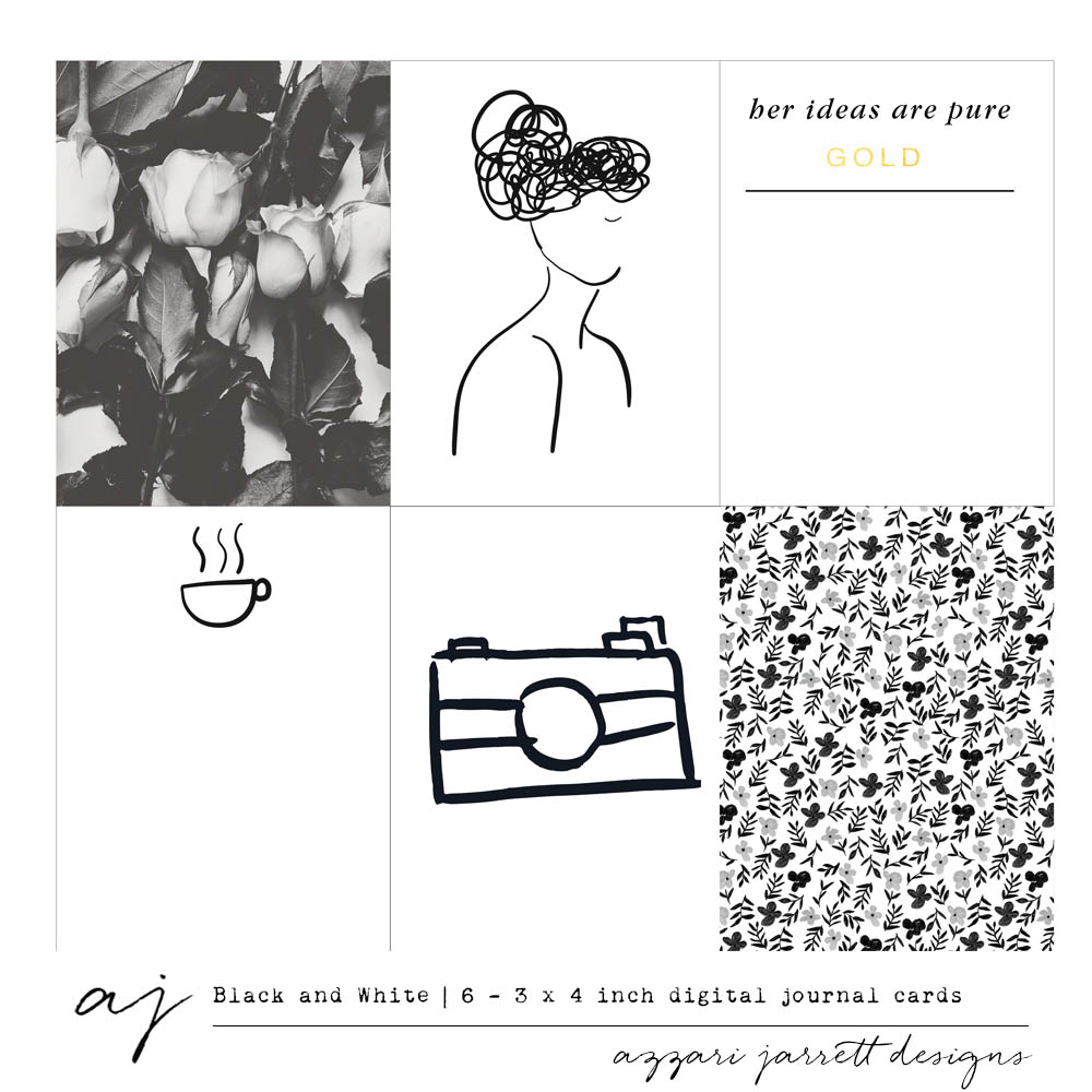 """Black and White"" Printable Journal Cards 