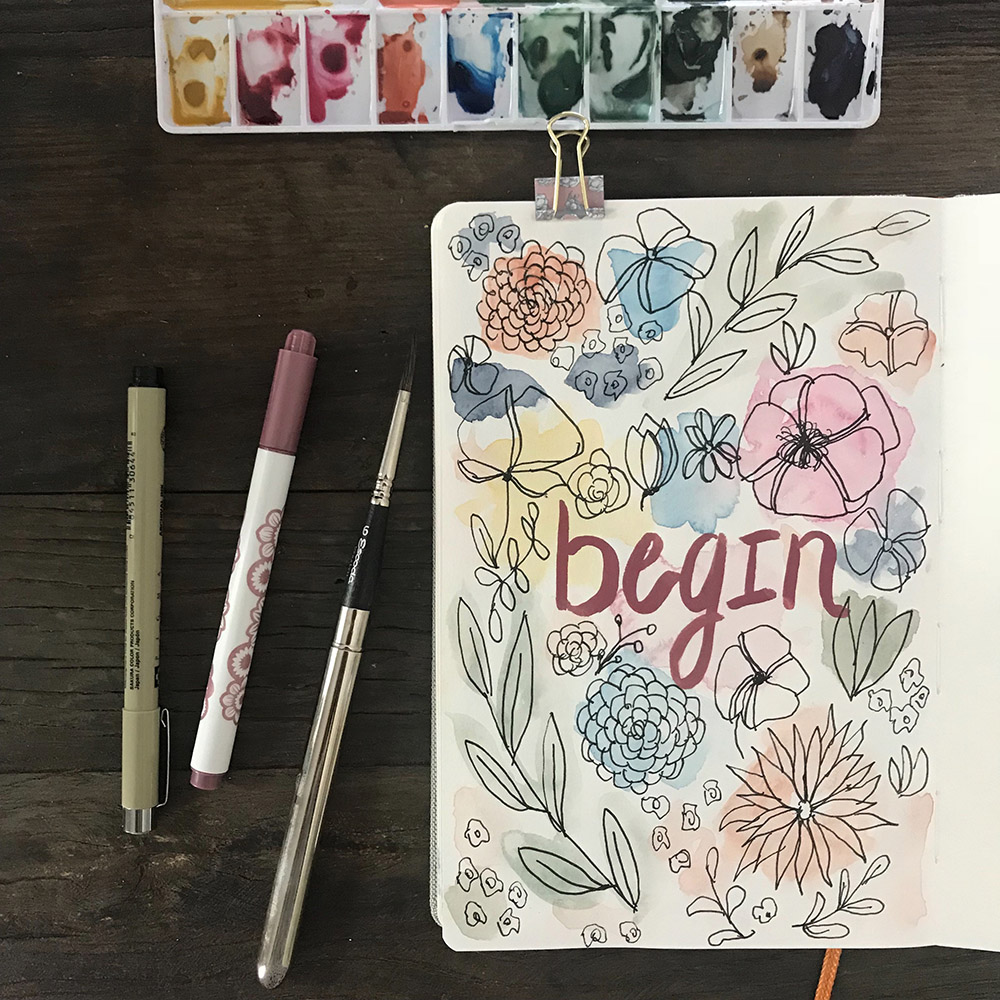Azzari Jarrett | Ink and Watercolor Botanical - Begin