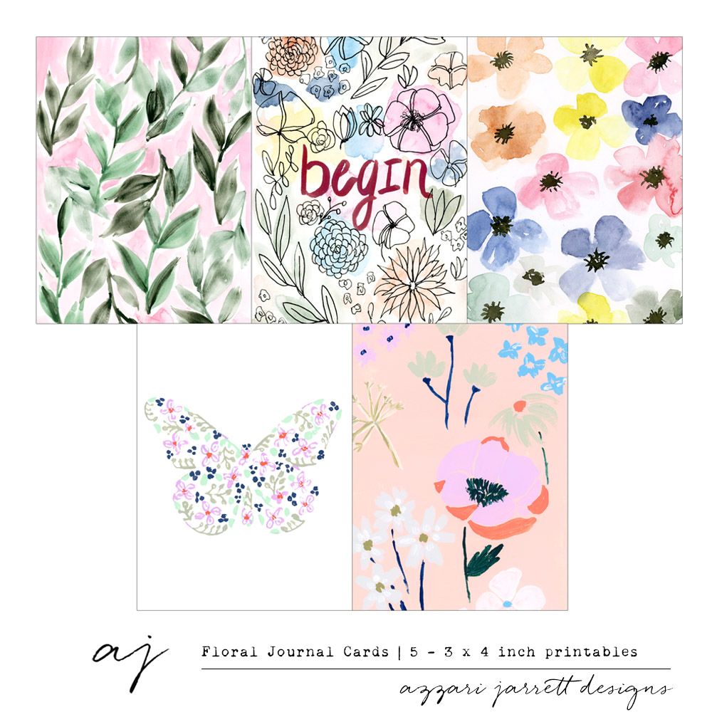 Azzari Jarrett | Floral Printable Journal Cards