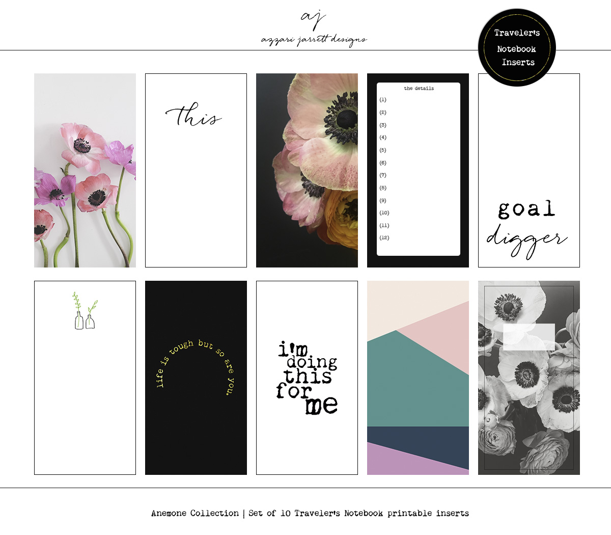 Azzari Jarrett | Anemone Collection - set of 10 printable traveler's notebook inserts.