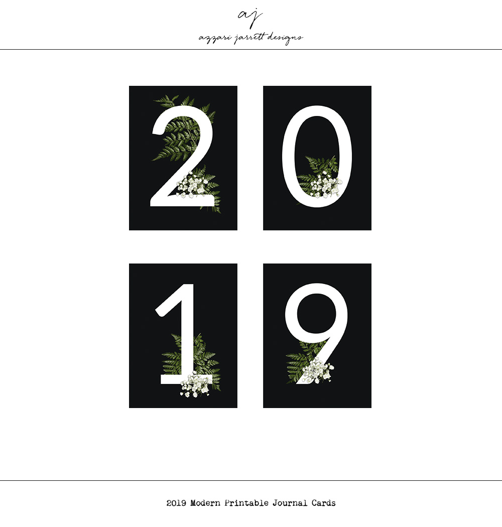 Azzari Jarrett Designs | 2019 Modern Printable Journal Cards