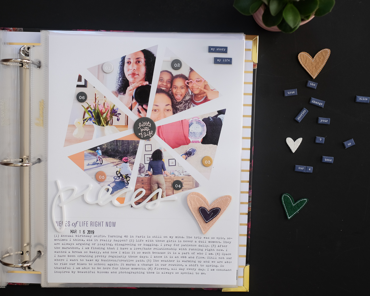 Ali Edwards' Pieces Story Kit Layout | Azzari Jarrett #craftthestory