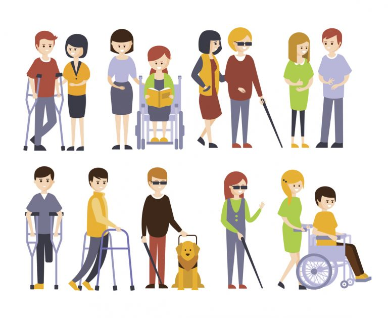 Image description: a cartoon of folks with a variety of disabilities.