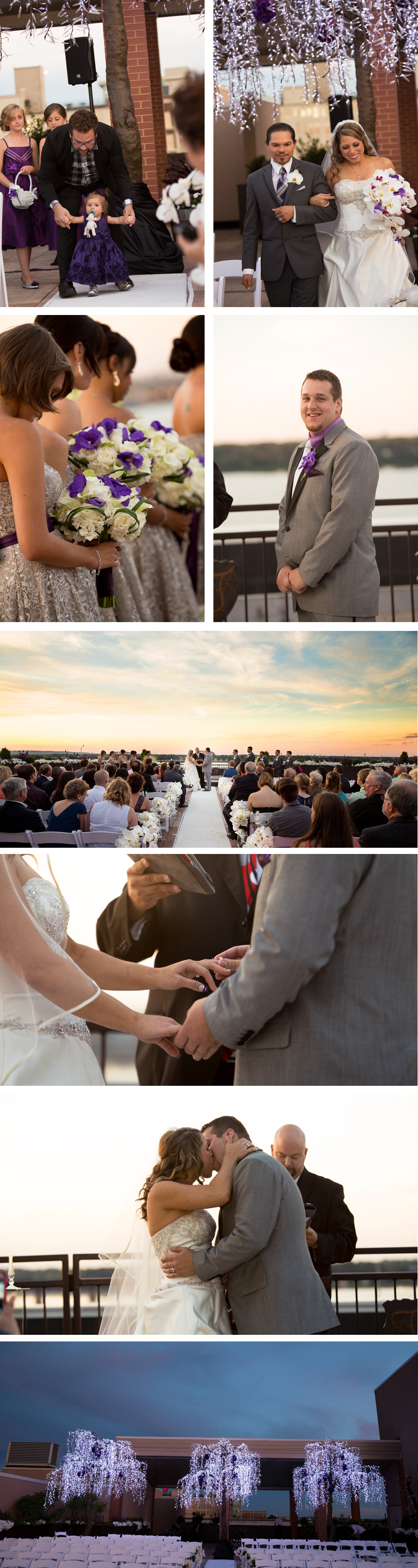 A rooftop ceremony at the Frazier Arms Museum at sunset.
