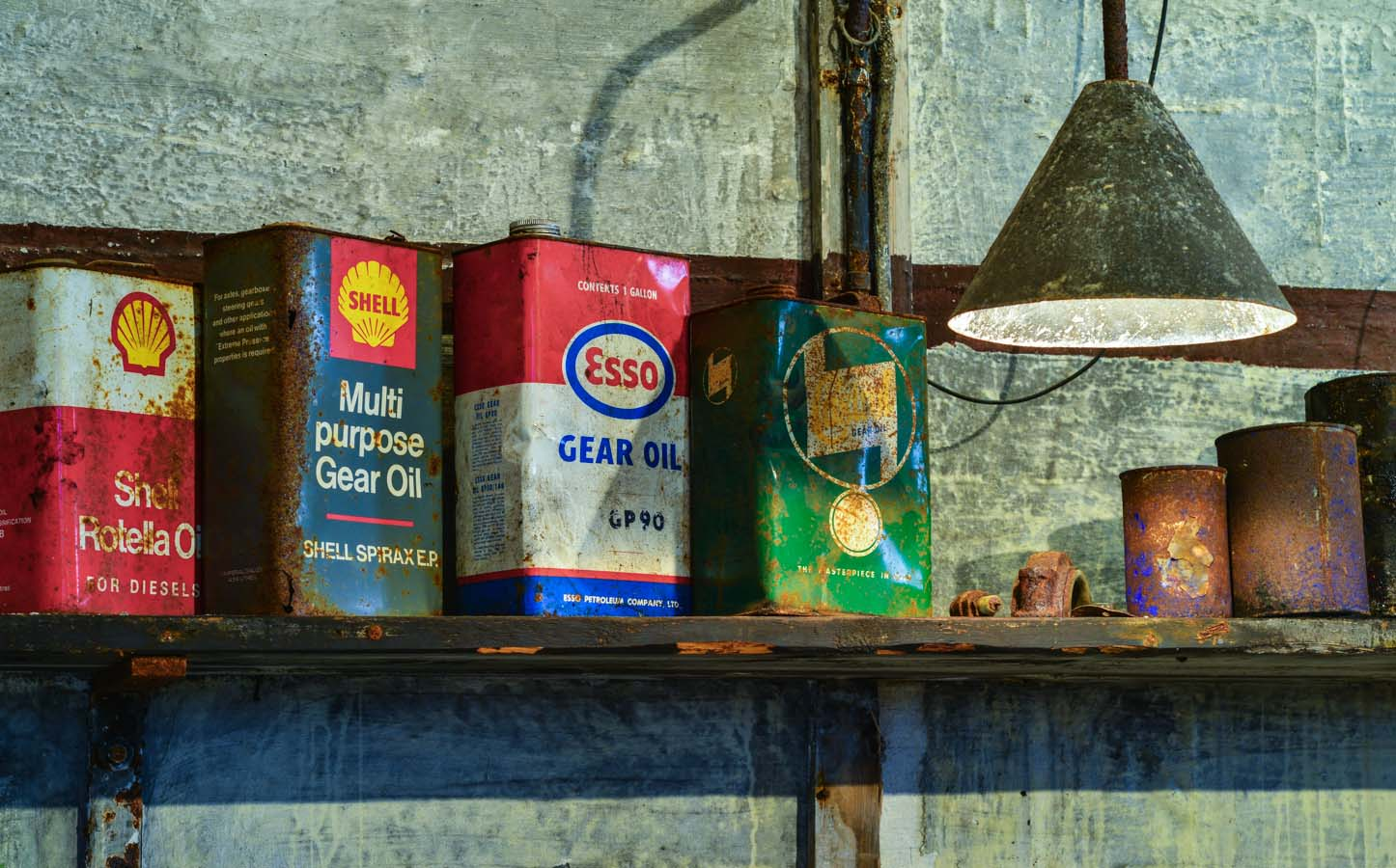 Oil cans, shot with only available light