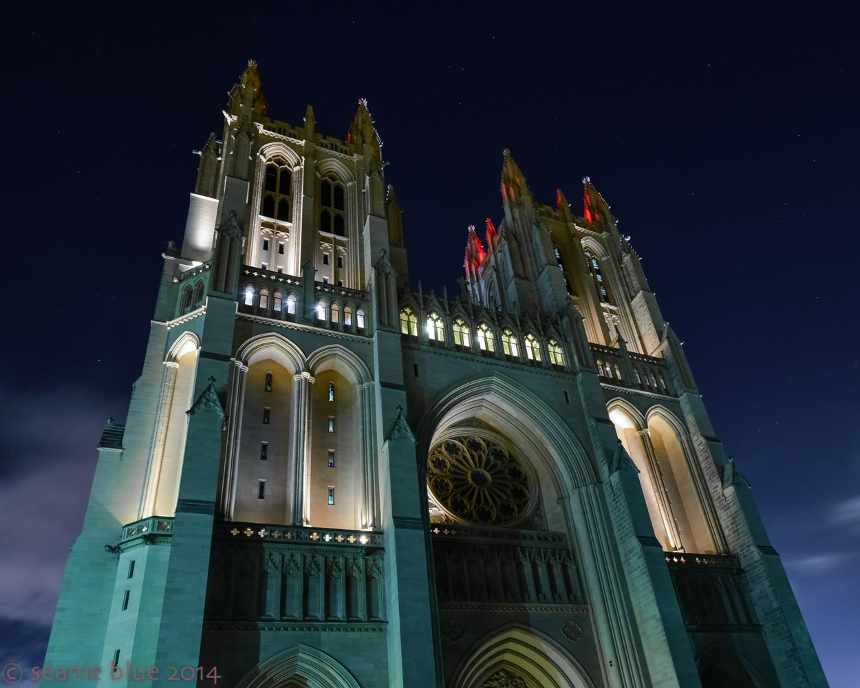 The National Cathedral, with stars twinkling.