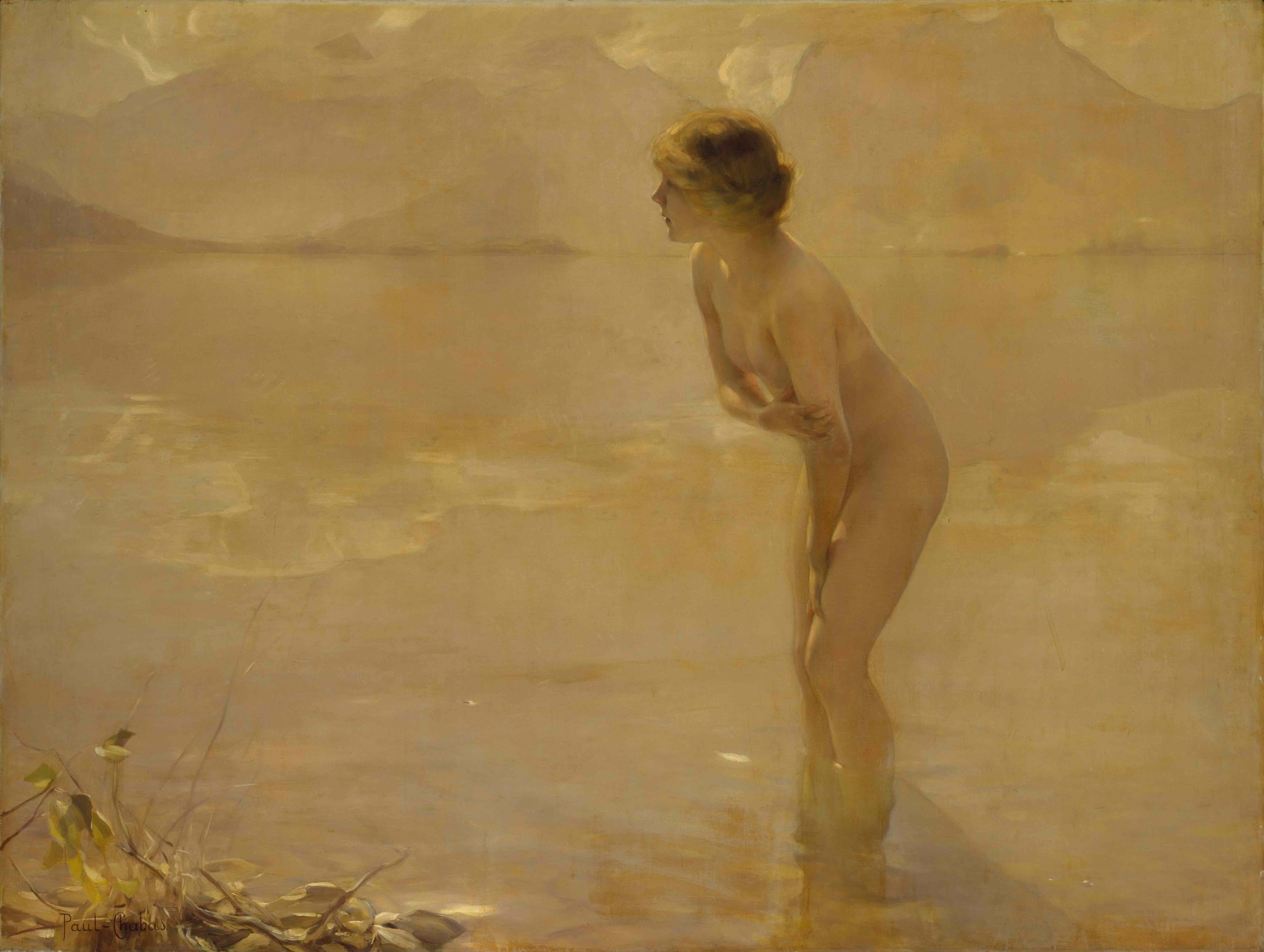Paul Chabas painted this in 1912. Painting is called September Morn,
