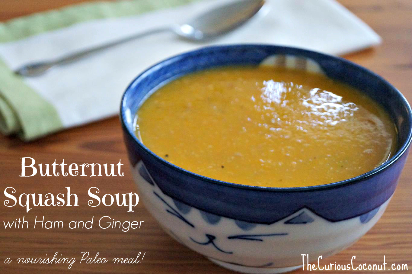 Paleo Butternut Squash Soup with Ham and Ginger