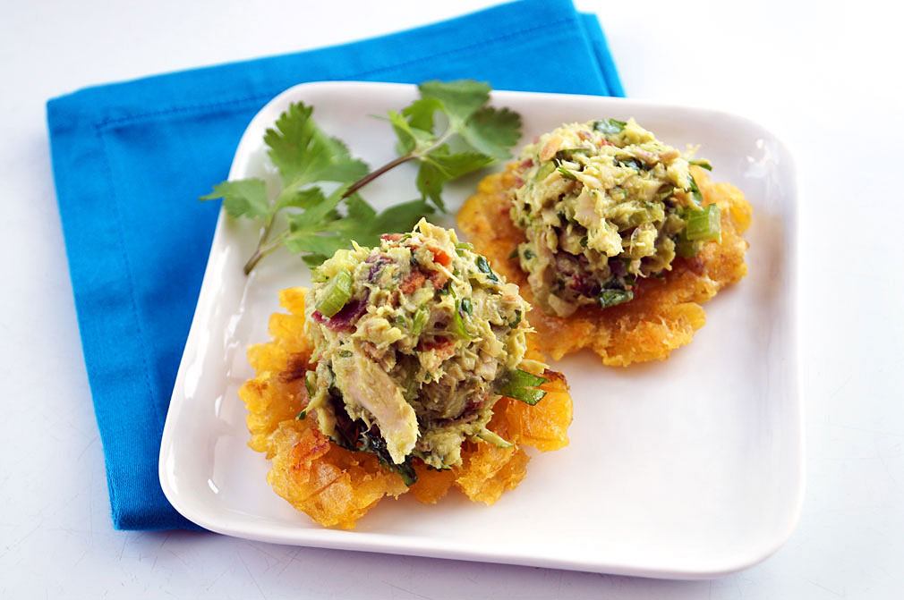 Autoimmune paleo Venezuelan reina pepiada (chicken avocado salad) on tostones ::: TheCuriousCoconut.com