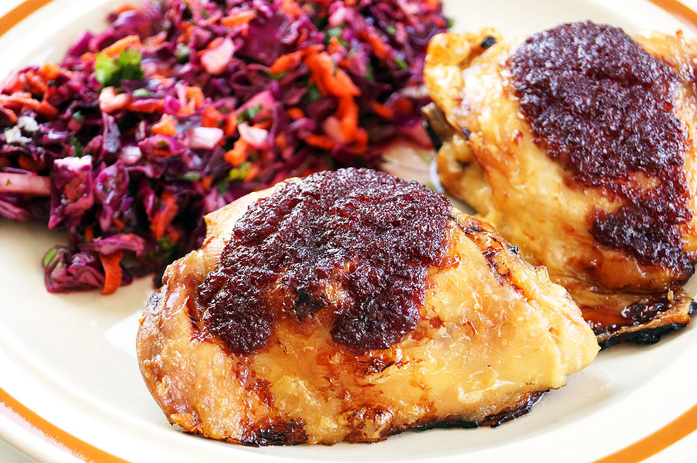 Chicken thighs with the Cherry BBQ sauce from the Autoimmune Paleo Cookbook