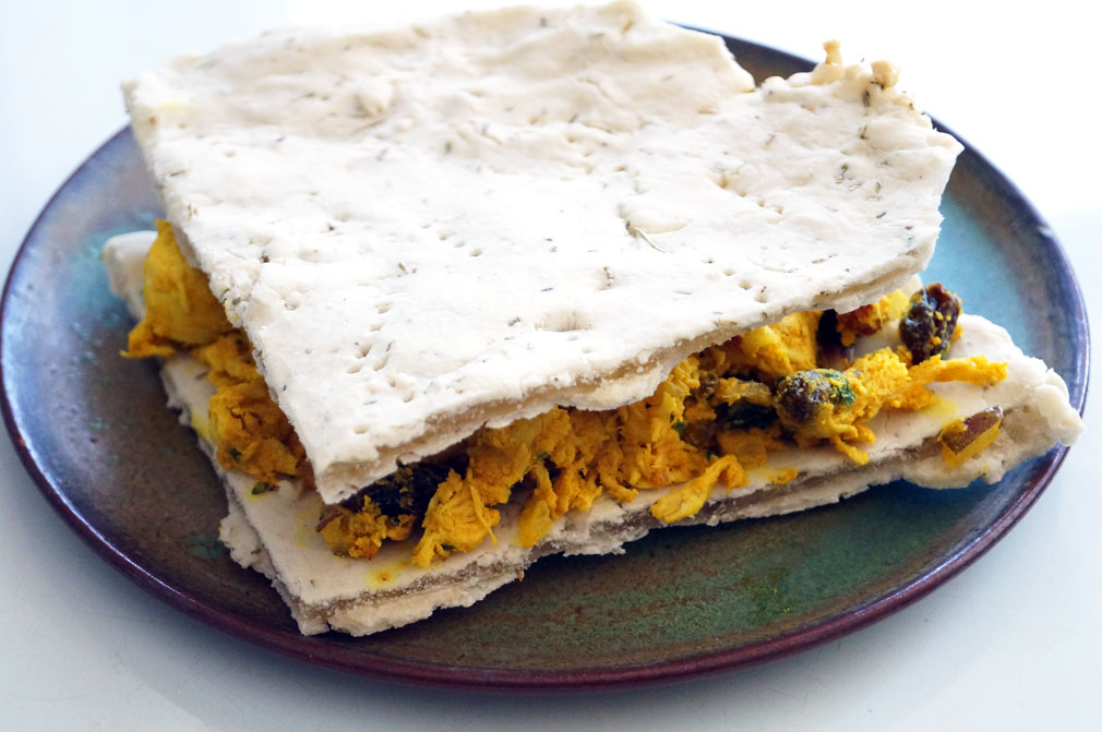 Curried chicken salad flatbread sandwich (autoimmune paleo!) // TheCuriousCoconut.com
