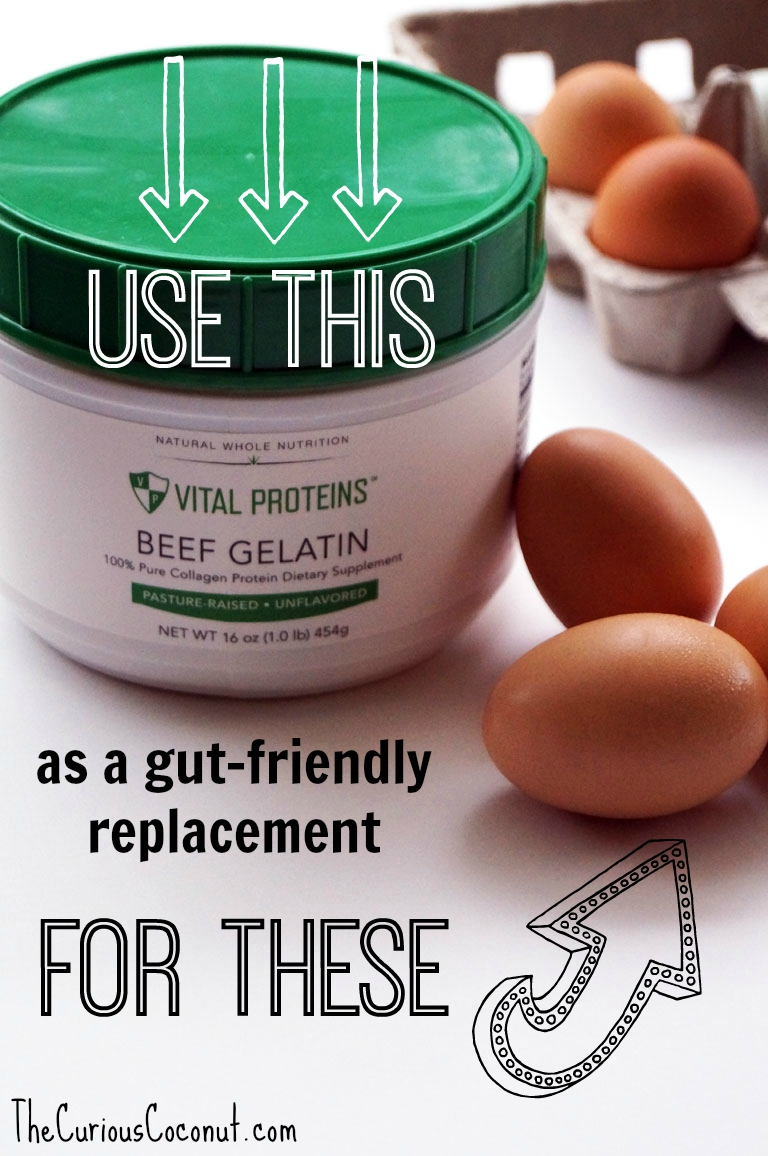 Learn how to use gelatin as a gut-friendly, #autoimmunepaleo egg replacement in baked goods! // TheCuriousCoconut.com
