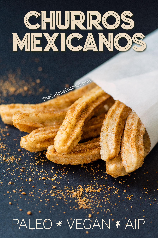 Churros Mexicanos with Otto's Cassava Flour - Grain-free, Gluten-free, Vegan, Paleo, AIP, Egg-free // TheCuriousCoconut.com