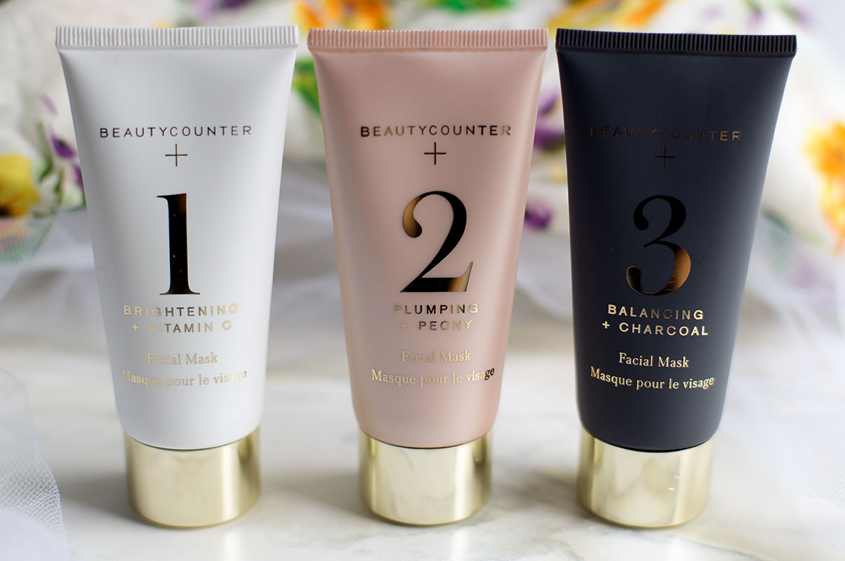 Non-toxic clay masks by Beautycounter: #1 Brightening and Anti-Aging Vitamin C, #2 Plumping and Anti-Aging Peony, #3 Balancing Anti-Acne Charcoal